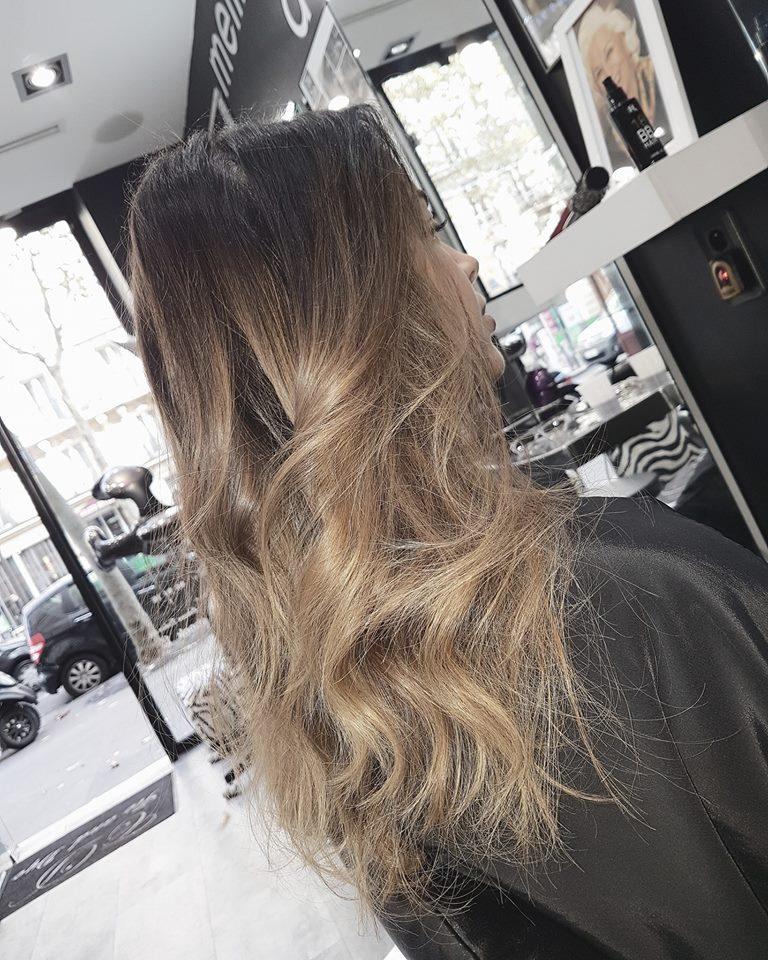 Ombré hair châtain Salon de coiffure Paris ouvert dimanche