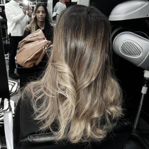Ombré hair brun foncé doré